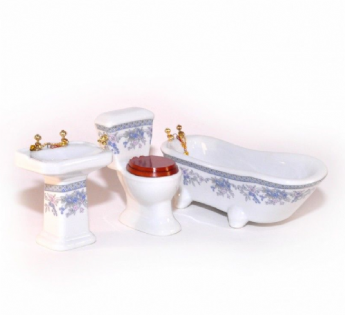 Dolls House Furniture  1:12 DF1192 Porcelain Bathroom Set with Blue Flowers